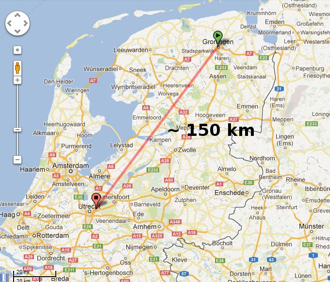 Weerwoord Afstand Groningen De Bilt 150km